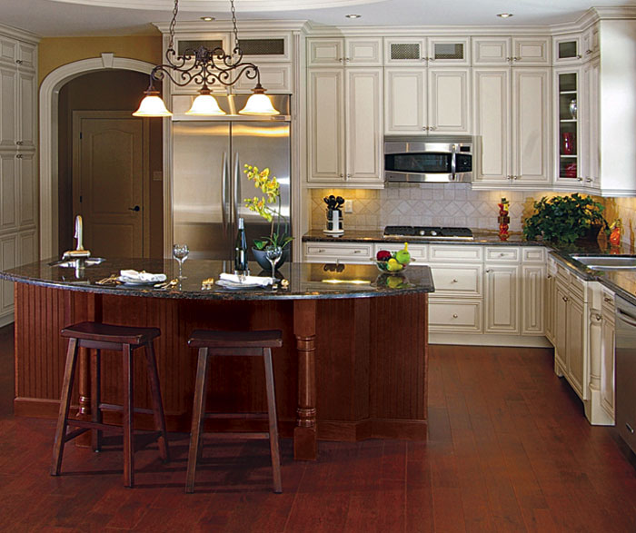 Maple cabinets with a cherry island - Ceramic Tile World ...