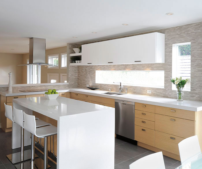 White oak cabinets with gloss white accents - Ceramic Tile ...